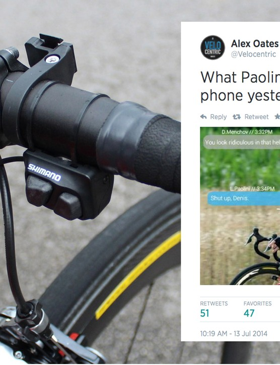 Luca Paolini is a fan of buttons on the bike, whether on his mobile phone or his Di2 set-up