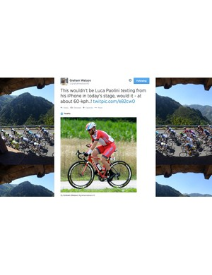 Photographer Graham Watson caught Paolini using his phone during stage 8 of the Tour de France