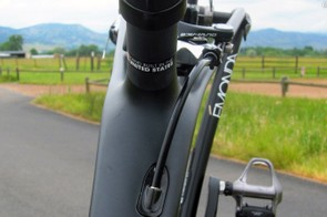 The rear of the top tube is extremely wide in an effort to boost front triangle torsional stiffness