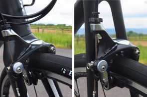 The direct-mount Shimano Dura-Ace brakes are impressively powerful with excellent control and lever feel given the compact, flex-resistant layout