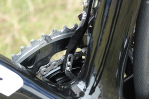 The SRM magnet chain catcher, as the name implies, doubles as a magnet for the power meter so mechanics don't have to glue a magnet to the frame