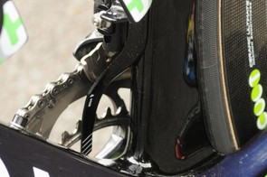 Movistar rider JJ Rojas' new Canyon Aeroad CF had a proprietary chain catcher mounted to both seat tube bottle cage bolts