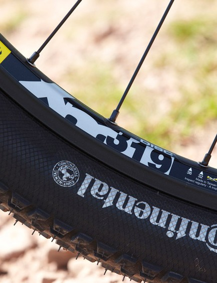 Continental rubber and Mavic rims help lighten the rolling mass and get things zipping along