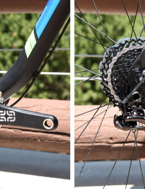 The smart spec on the new Scott Big Ed includes a SRAM X9 2x10 transmission and e*13 TRS fat bike crankset with 22/36T chainrings