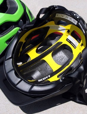 The yellow plastic liner is the heart of MIPS, which allows the helmet to rotate very slightly on your head upon impact. According to Scott, this reduces the amount of impact force transmitted to your brain by up to 39 percent