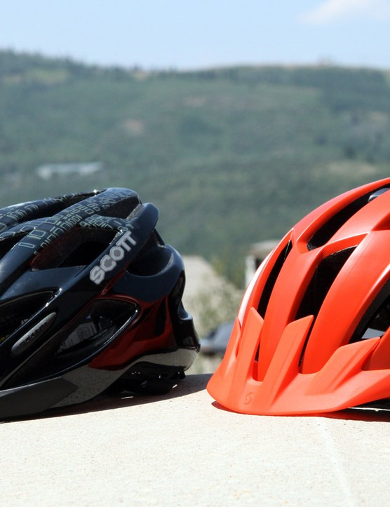 Also included in Scott's MIPS-equipped mountain bike helmets for 2015 are the Taal (left) and ARX MTB Plus (right). Not shown is the MIPS-equipped Lin, which sits in between the two in terms of price