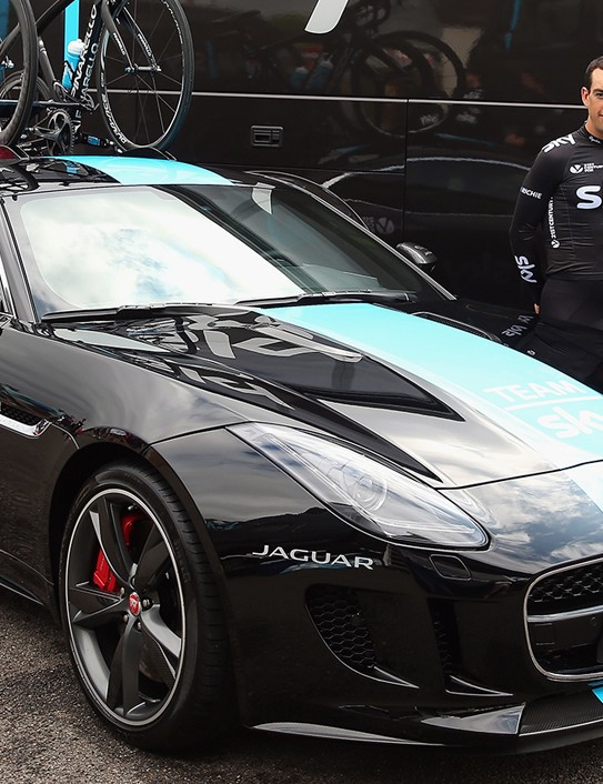 The new Team Sky Jaguar F-Type – Dave Brailsford, Richie Porte and Geraint Thomas not included