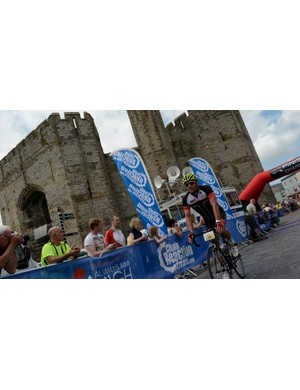The finish line in front of Caernarfon Castle