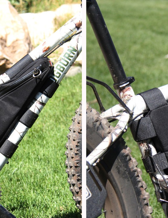 Cogburn's new frame bag, constructed by Revelate Designs, uses a curve zipper for easy access