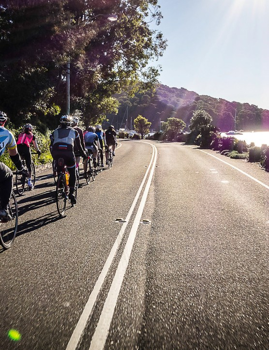 Riders working together in a paceline during the Rapha Women's 100 Sydney edition