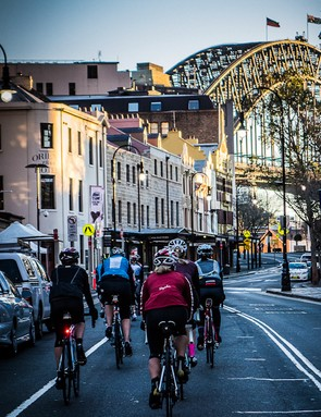 Sydney's Harbour Bridge looms above one of the Rapha Women's 100 rides
