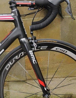 Like a number of top professionals, van Garderen prefers a long stem, and a short-reach bar with levers tipped back