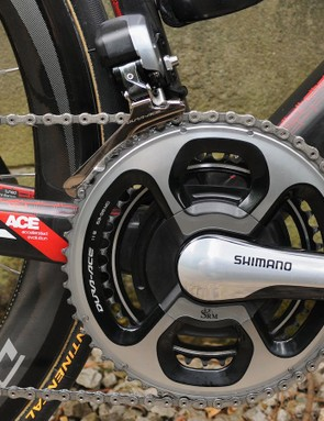 The SRM-equipped version of Shimano's new Dura-Ace chainset with 53/39 rings