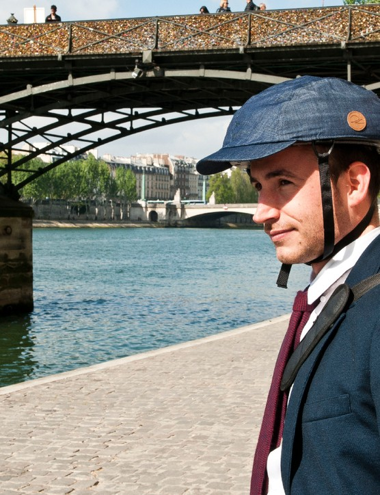 Closca's folding helmet is ideal for city riders such as this Alan Partridge lookalike