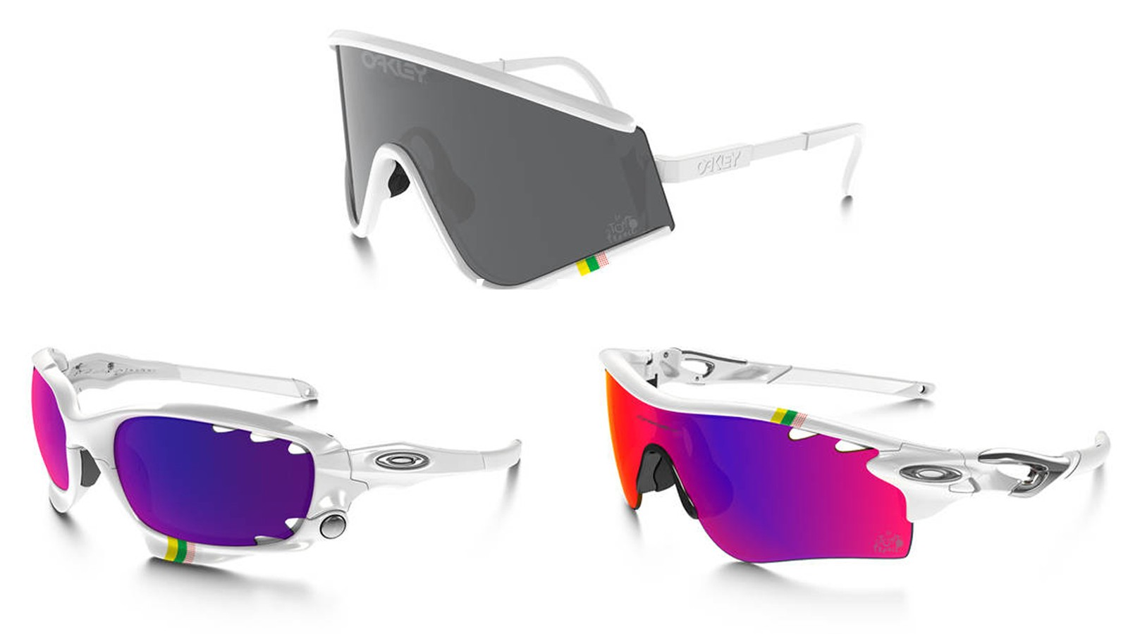 The Tour de France collection comprises three models; Radarlock (right), Eyeshade (top) and Racing Jacket (left)