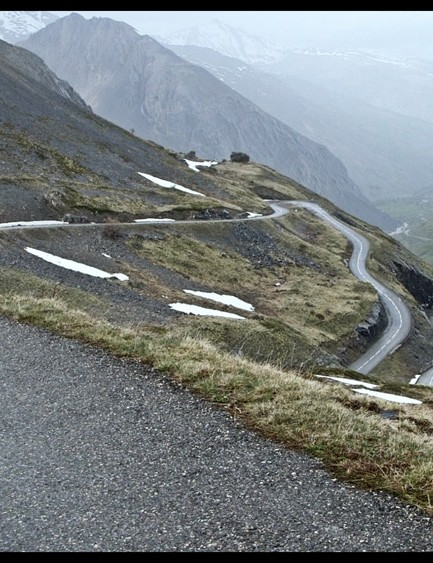 Looking back over the Plan Lachat hairpins from a bit nearer the end