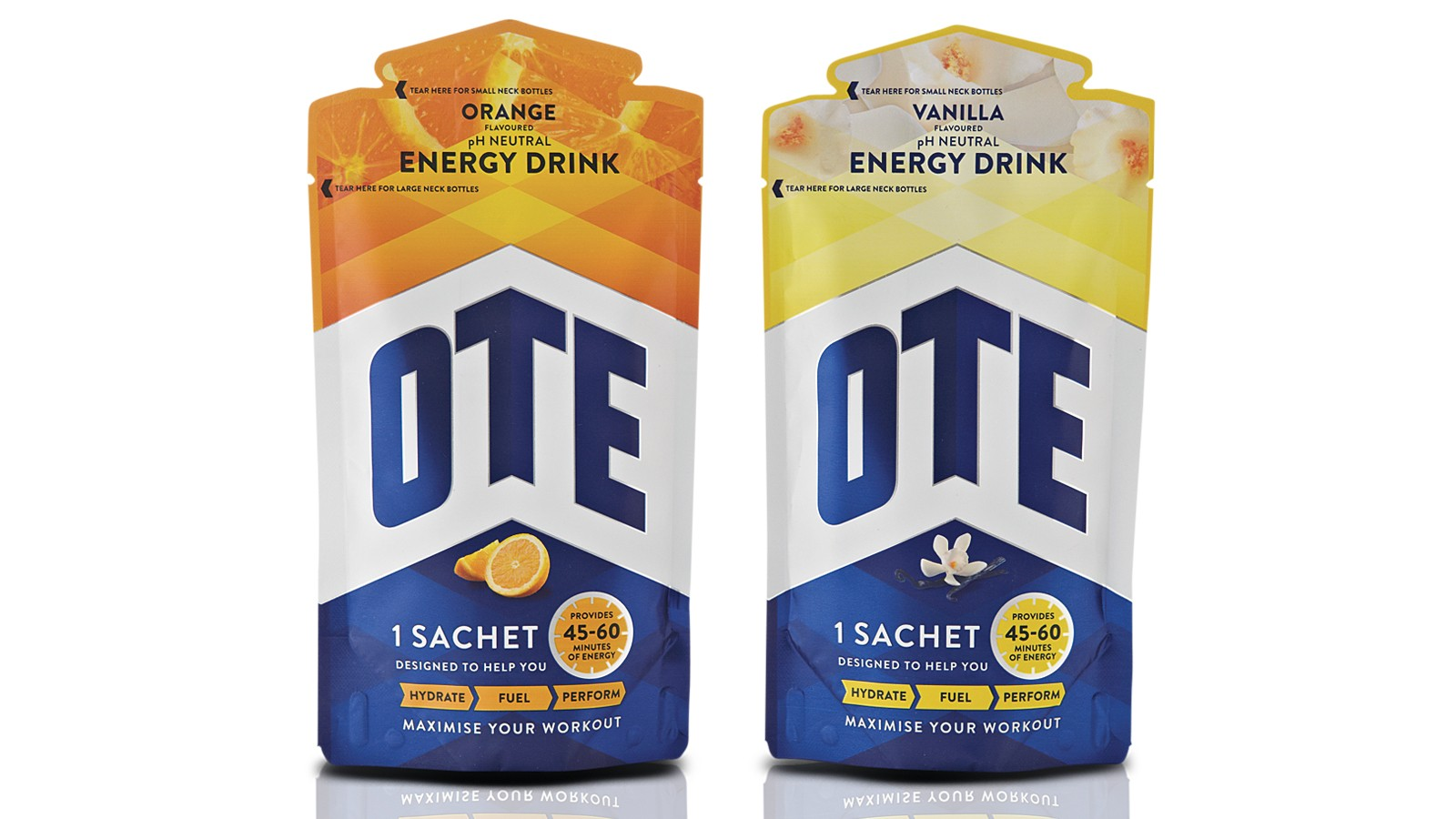 The OTE sachets have smaller openings at the top and wide openings below this