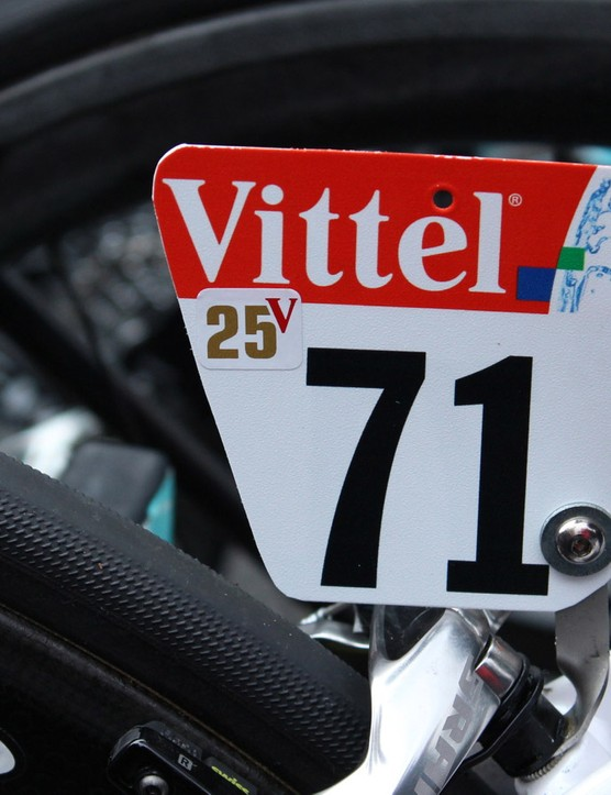Okay, so a little sticker on a number plate is not a paint job. But what better decoration to a race bike than celebrating the number of Tour stage wins?
