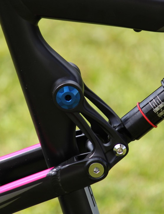 Moving the linkage pivot to the seat tube has improved efficiency and increased standover clearance, says Rose