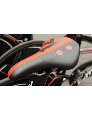 There were almost as many variants of TT saddle on display as riders. This new Fizik Ares has grippy dots on the forward section