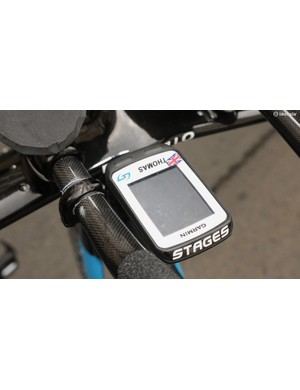 Geraint Thomas's Stages badged Garmin head unit and a blacked out K-Edge TT bar clamp