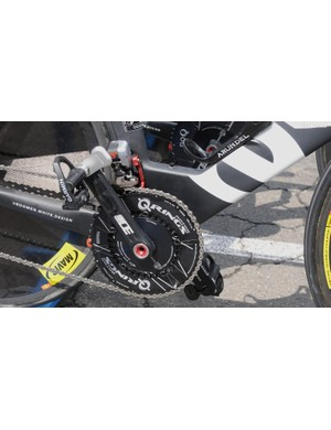 Garmin's Vector pedals were back in use for the TT, here fitted to a Rotor 3D+ crank and Q Rings