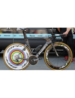 Time trial stage winner Tony Martin's Specialized Shiv TT makes the most of his World TT Champion status