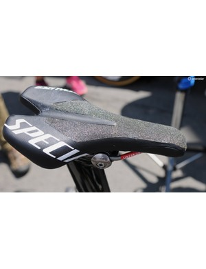 Martin's customised Specialized saddle has grippy material cut in to the surface. It must suit Tony Martin's phenomenal ability, but it looks like it'd soon wear out an expensive lycra skinsuit