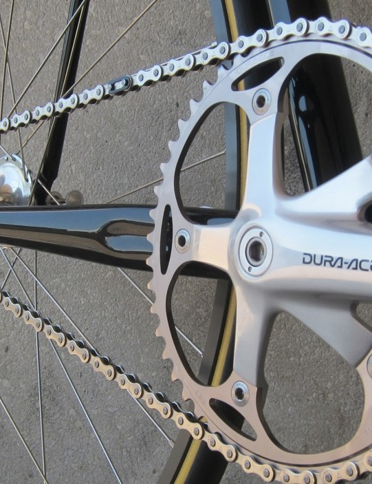 Fittingly, the chainset is from Japanese manufacturer Shimano