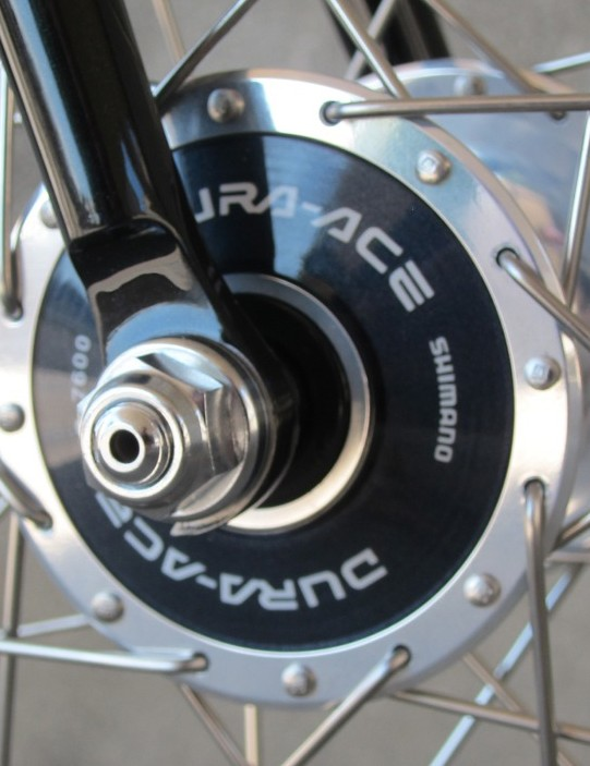 Dura-Ace hubs would ensure smooth rolling, though we're not sure the bike will ever tread the boards