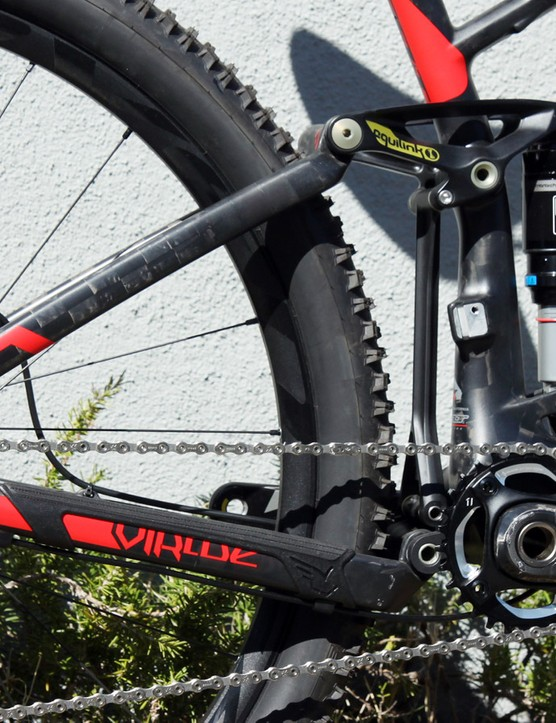 Felt's Equilink six-bar suspension system may be difficult for many to grasp but the takeaway is that it allows the frame designers to independently tune the anti-squat and wheel path characteristics