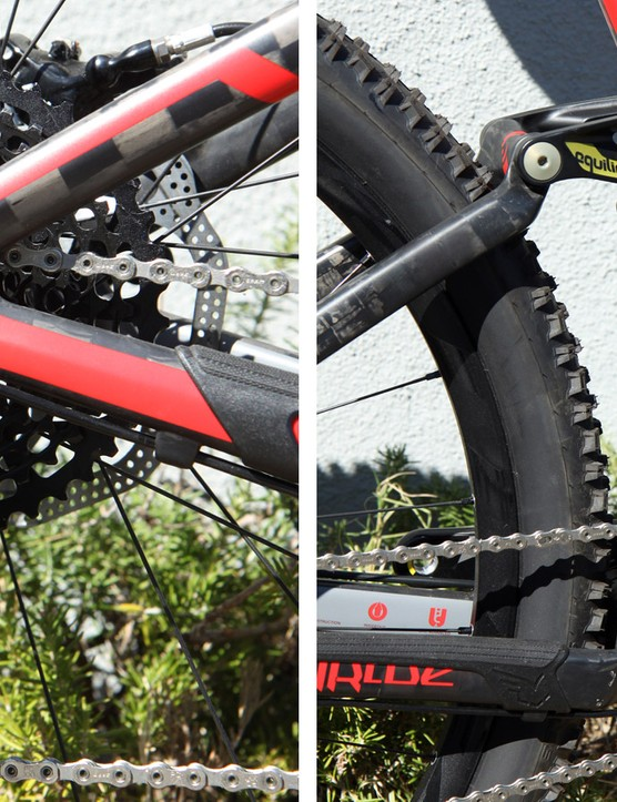 The stays on carbon Virtue frames change angle slightly relative to each other as the suspension moves through its travel but there's enough flex in the carbon structure to account for it