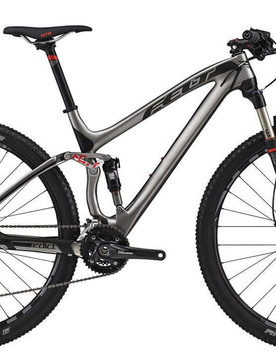 The 2015 Felt Edict 3 pairs a 100mm-travel UHC Performance carbon frame with a value-minded build kit that includes a Shimano Deore/XT drivetrain, WTB Speed Disc wheels, and a RockShox Reba RL fork