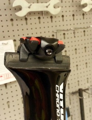 The top of the seatpost has a rail that allows 25mm of adjustment