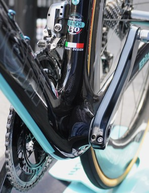 The narrow down tube flows around the wide press fit bottom bracket, helping Bianchi's 130 year anniversary bike (in 2015) to be amongst their most striking
