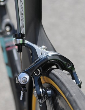 The Pico's rear Dura-Ace caliper does protrude quite far in to the wind