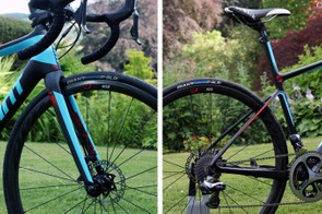 Giant claims that the new Defy Advanced SL is built on a lighter-weight chassis (frame, fork, headset, seatpost/ISP and associated hardware) than the Specialized S-Works Roubaix SL4 Disc, Trek Domane Disc 6.9 and Cannondale Synapse Hi-Mod Disc. In addition, Giant claims its new bike is stiffer than all of those competitors while also delivering a measurably smoother ride than all but the Cannondale