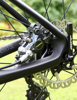 The rear brake caliper on the new Giant Defy Advanced SL mounts to the chain stay, allowing the seat stays to be very slim