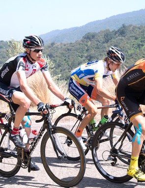 Chris Baldwin (pictured centre at the 2013 Tour of California) explains how to improve your climbing in four (not-so-easy) steps