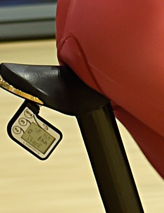 Burke clearly isn't worried about weight with a 300g-plus Selle San Marco Rolls saddle. His SRM, mounted underneath, is reading 443 watts