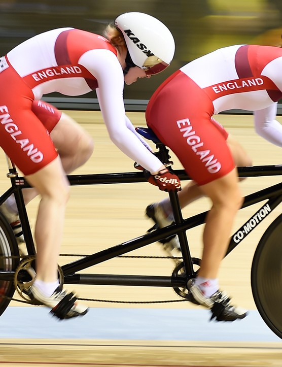 The women's tandem bike for the para 1km time trial is a custom build from American company Co-motion. Unlike their regular range, there's an additional diagonal support tube to help it stand up to the rigours of Sophie Thornhill and Helen Scott's powerful legs