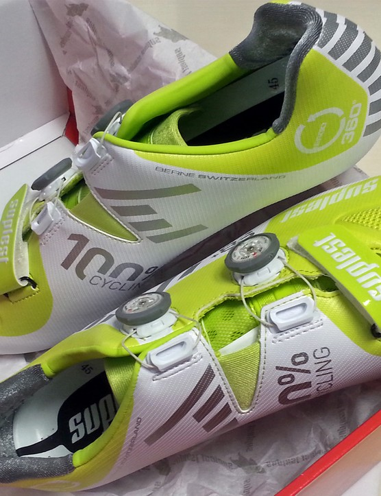 The Suplest S8+ Streetracing carbon shoes come in a striking lime green / white reflective finish