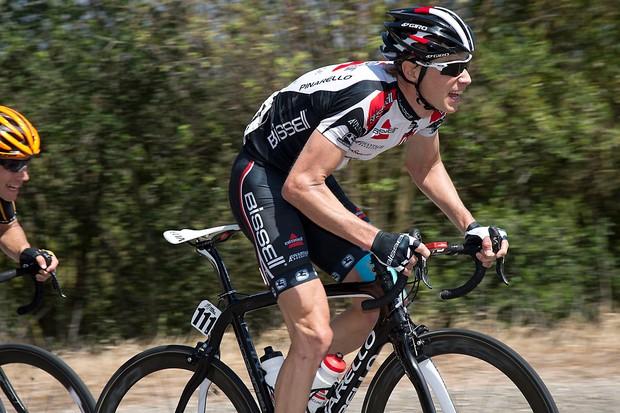 Chris Baldwin racing uphill at the Tour of California