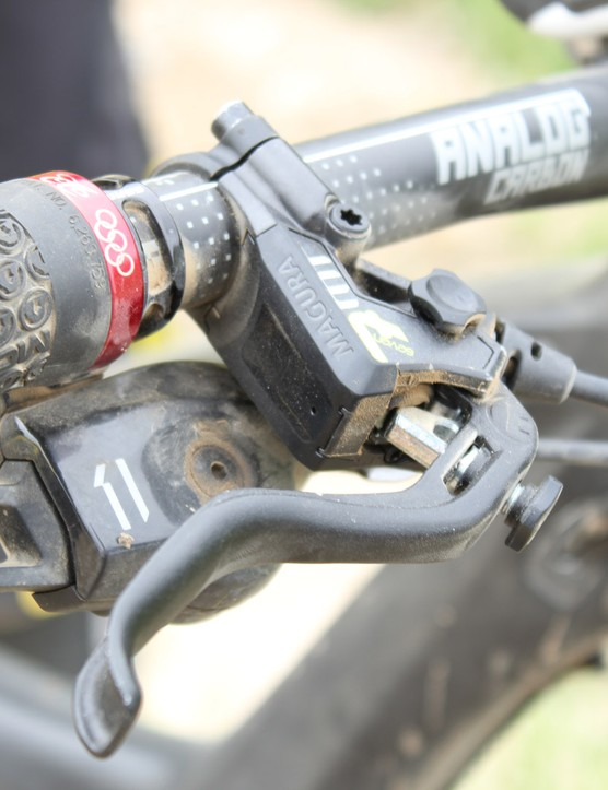 Magura's new MT7 disc brakes with 180mm rotors keep the French racer's speed in check