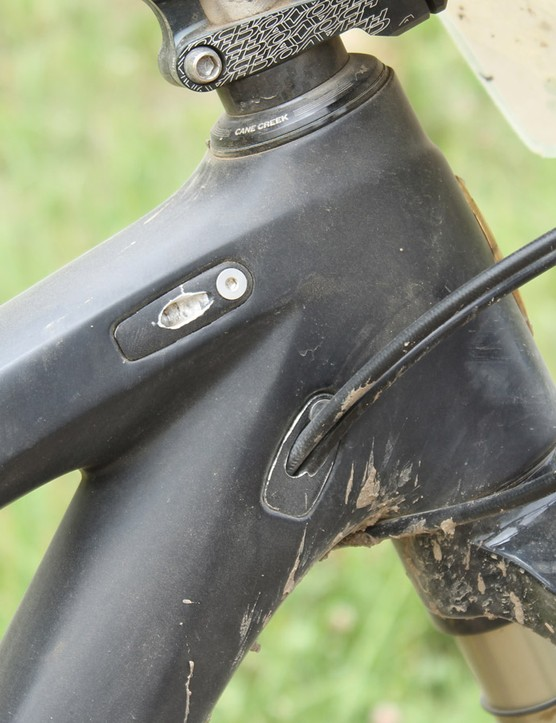 The Ibis frame has internal routing with ports on the sides of the top and down tubes