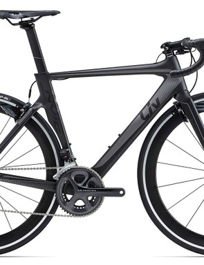 Keeping the same frame as the Advanced Pro 0, the Liv Envie Advanced Pro 1 (US$5,325 / AU$4,999 / £TBA) with Shimano Ultegra Di2 and Giant P-SLR1 55mm deep wheels is just as ready to race