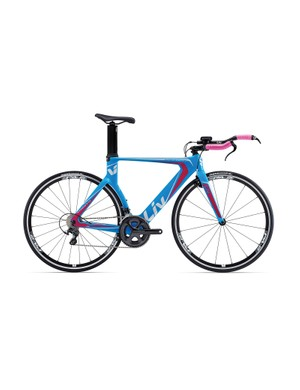 The Liv Trinity Composite W (US$N/A / AU$2,799 / £TBA) is a purpose built time-trial and triathlon machine. In the US, there'll be a tri-specific Envie instead