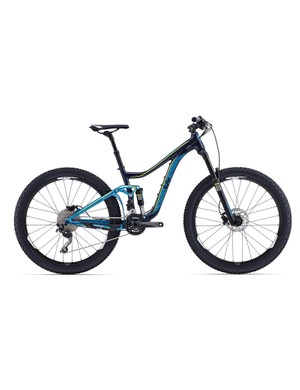 The Giant Trance is a bike you'll often see on the trails with its 140mm of suspension travel; the Liv Intrigue is the female specific version. Pictured, the Intrigue 2 (US$2,775 / AU$2,699 / £TBA) with a price conscious RockShox Revelation RL front fork and Shimano Deore 20-speed gearing