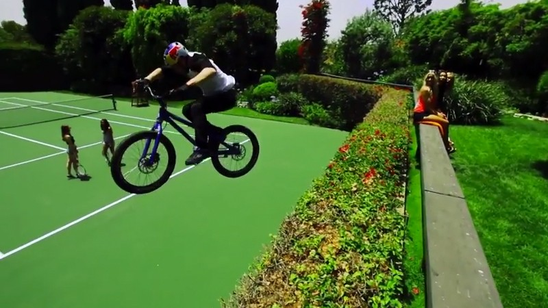 Danny MacAskill runs riot at the Playboy Mansion