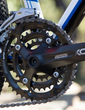 While the Suntour XCM crank doesn't shift quite as nicely as a Shimano, its replaceable chain rings are great for the money